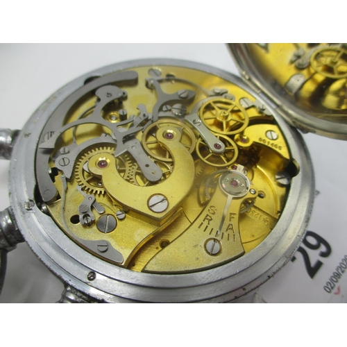 29 - An Omega 3 second split second Rattrapante chronograph chrome cased stop watch, the movement numbere...
