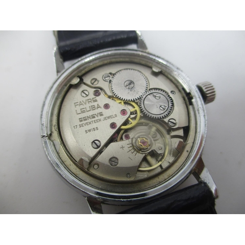 32 - A Favre Leuba manual wind stainless steel gents wristwatch, having a blue dial with gilt baton marke...
