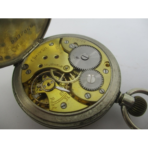 34 - An early 20th century Omega stainless steel keyless wound triple signed pocket watch having a white ...