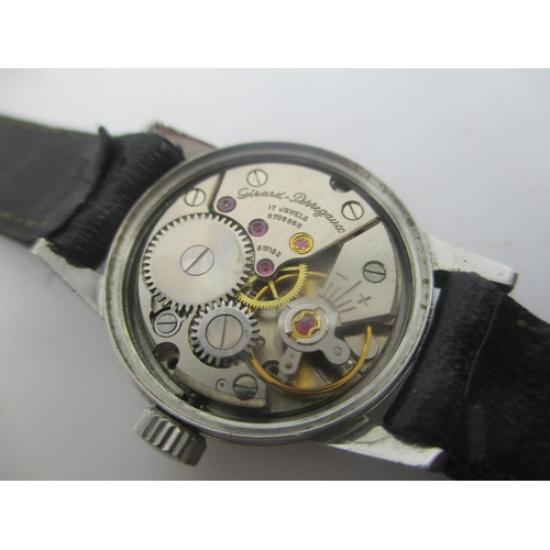 35 - A Girard Perregaux manual wind stainless steel ladies wristwatch, having a silvered dial with baton ...