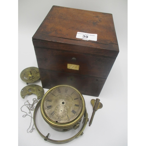 39 - An interesting 1820's Parkinson & Frodsham one day marine chronometer relic, which has been complete...