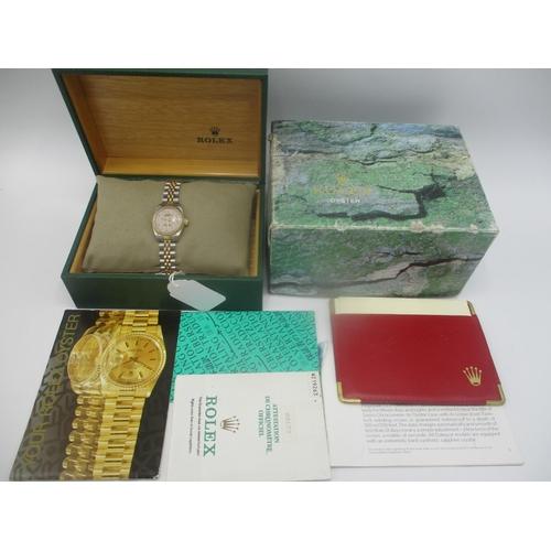 4 - A Rolex Oyster Perpetual Datejust ladies bi metal automatic 1980s wristwatch, having a date aperture...