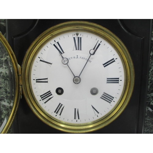 40 - A late 19th century large slate and marble mantle clock, having a white enamel dial, signed Joret & ...