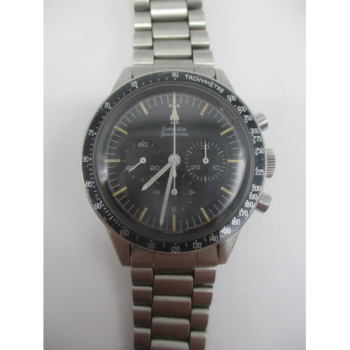 8 - An Omega premoon, Speedmaster Ed White, manual wind, stainless steel gents wristwatch. The black dia...
