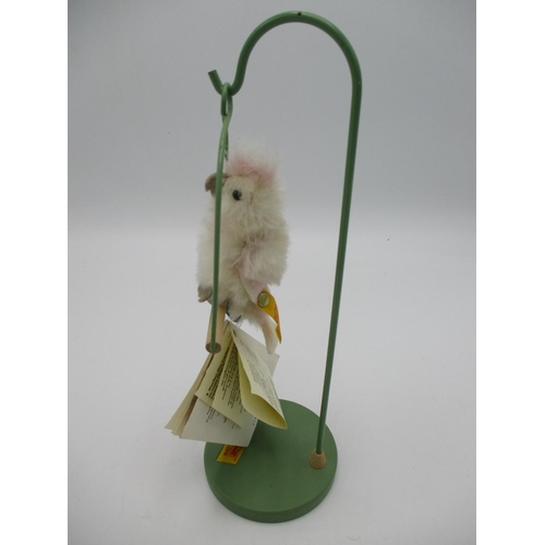 104 - A Steiff classic made in Germany Knoff IM OHR genuine mohair parrot on a perch...