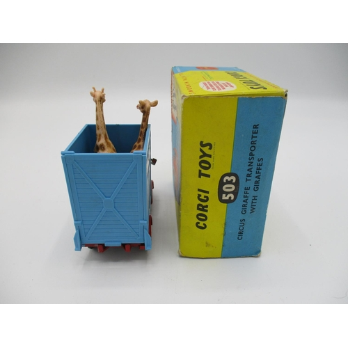 107 - Corgi No. 503 Circus giraffe transporter with giraffes and original box...