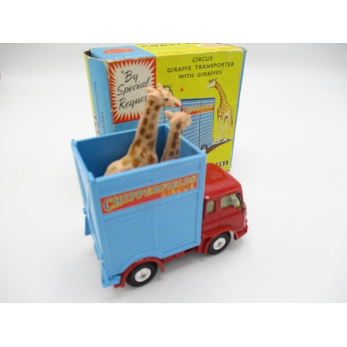 107 - Corgi No. 503 Circus giraffe transporter with giraffes and original box...