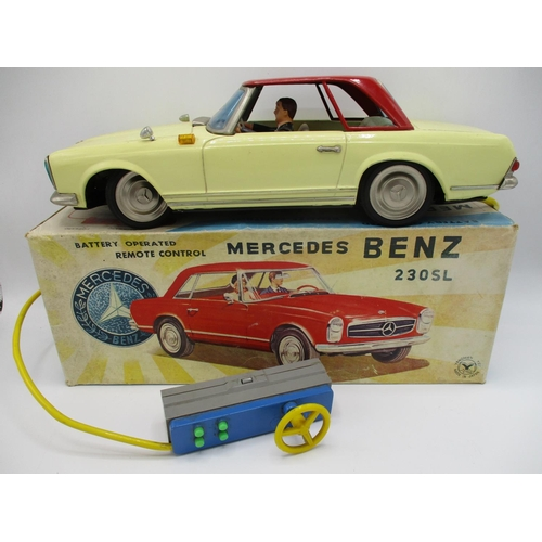 94 - A 1960s Yangman Japanese Mercedes Benz 230SL remote control, tin plate car, battery operated, with s...