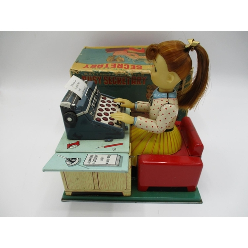95 - A Linemar Toys (made in Japan) tin plate, battery operated Busy Secretary with light moving typewrit...