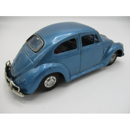 99 - A 1950s/60s Bandai Japanese tin plate Volkswagen Beetle, blue body, Friction Drive, 3