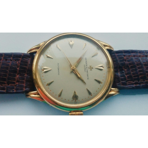 43 - A 1950's 18ct gold gents Vacheron and Constantin bumper automatic wristwatch.  The signed dial with ...