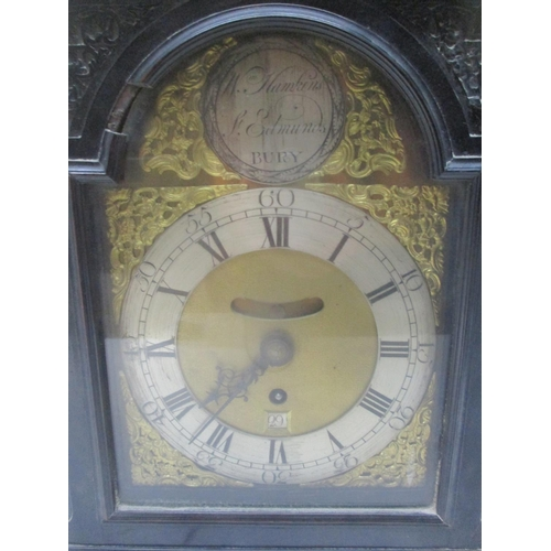 44 - An early/mid 18th century bracket clock by William Hawkins, St Edmunds, Bury, with original wall bra...