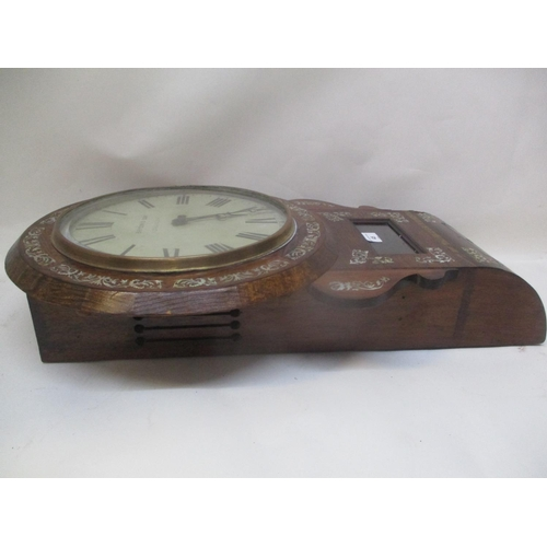 45 - A William IV rosewood drop dial clock, the 12