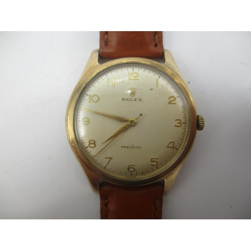 48 - A Rolex Precision manual wind 9ct gold gents wristwatch hallmarked 1959 in a DS&S case. The 17 jewel...