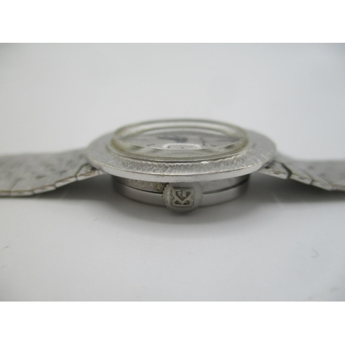 50 - A Bueche - Girod manual wind 9ct white gold wristwatch, the silvered dial having baton markers and f...
