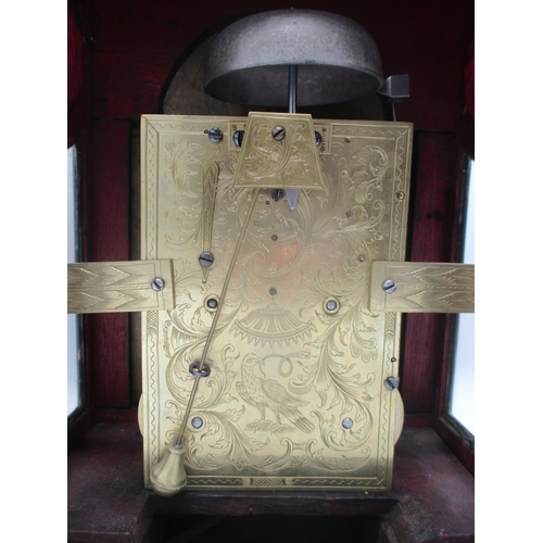 53 - A mid 18th century bracket clock by Thomas Gardner, London, a bell top Japanned case, the arched top...