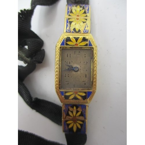59 - An early 20th century Buren 18ct gold and enamelled ladies, manual wind cocktail watch having a silv...