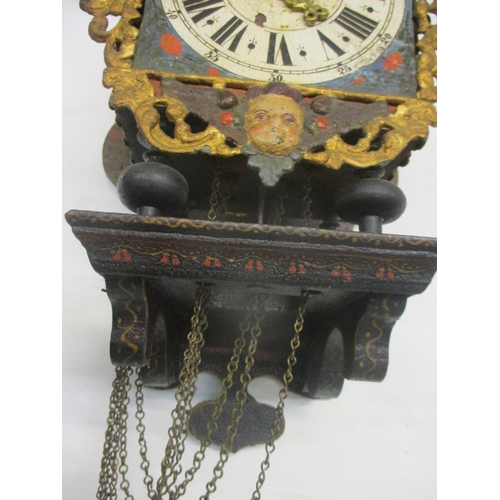 68 - A late 18th/early 19th century Dutch Friesland Stoelklok with verge escapement, striking and alarm m...