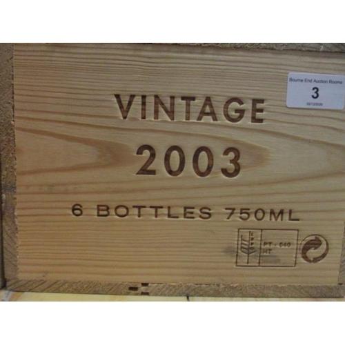 3 - Six cased bottles Niepoort, 2003 vintage, 750ml Location: 6...