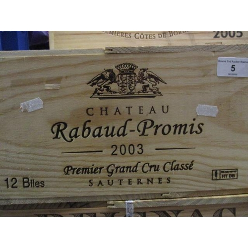 5 - Twelve cased bottles of Chateau Rabaud-Promis 2003 Sauternes Premier Grand Cru Classe Location 10...