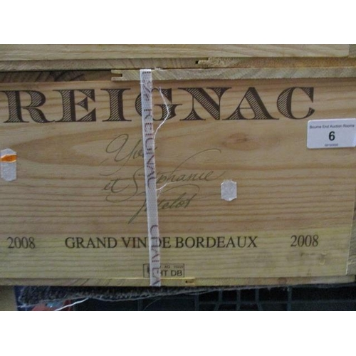 6 - Twelve cased bottles of Reignac 2008 Grand Vin De Bordeaux Location 11.5...