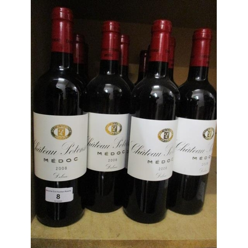 8 - 12 Bottles of Chateau Potensac Medoc 2008 Delon Location: CAB1...