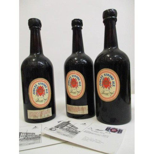 19 - Three bottles of Bass Jubilee strong Ale dated July 15th 1977 to celebrate the Queen's Jubilee 1952-...