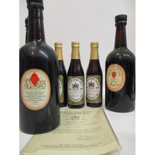 21 - Three bottles of Burton upon Trent centenary Ale 1878-1978 with certificate and three bottles of Bas...