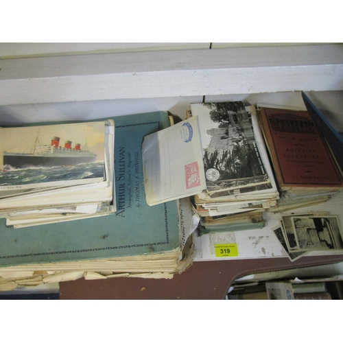 100 - A mixed lot of National Geographica magazines, postcards, music sheets, a stamp album and a photogra...