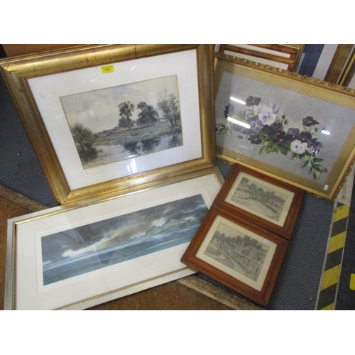 112 - Late 19th/early 20th century pictures to include Frank Thompson - a river scene, a still life oil an...