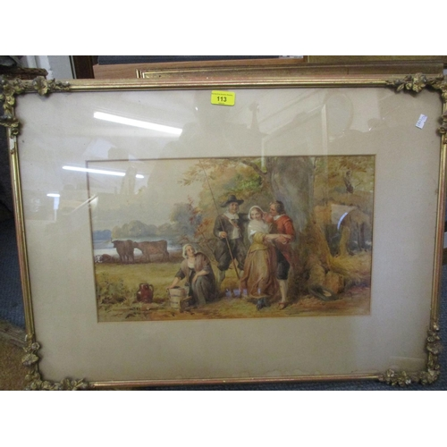 113 - Late 19th century British School - figures under a tree, watercolour, framed and glazed Location: RW...