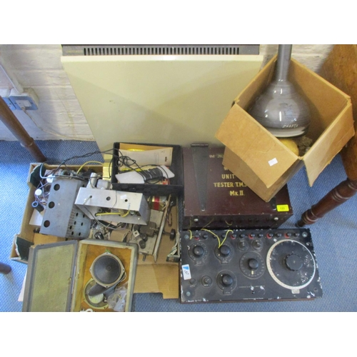 122 - Vintage RCA Cathode Ray tube eight pin marked B112265 with assorted electronic equipment. Vintage te...