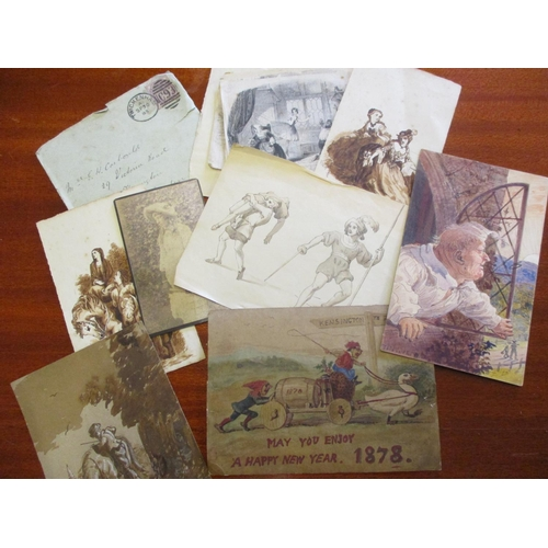 124 - Victorian watercolours and etchings two monogrammed and dated Sept 1859 with a photograph and letter...