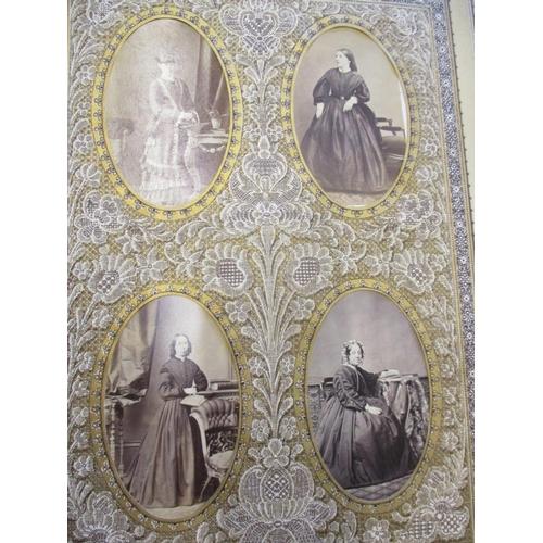 126 - Victorian De La Rue illustrated antique lace boards photograph album with DCV's (loose front cover) ...