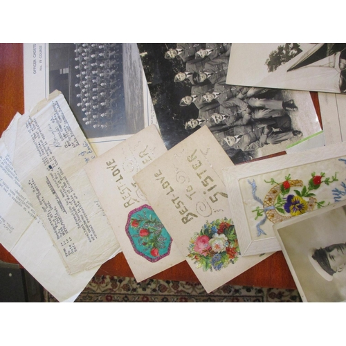 128 - Military ephemera interest includes WWI postcards, WWII RAF photographs and Service of Thanksgiving ...
