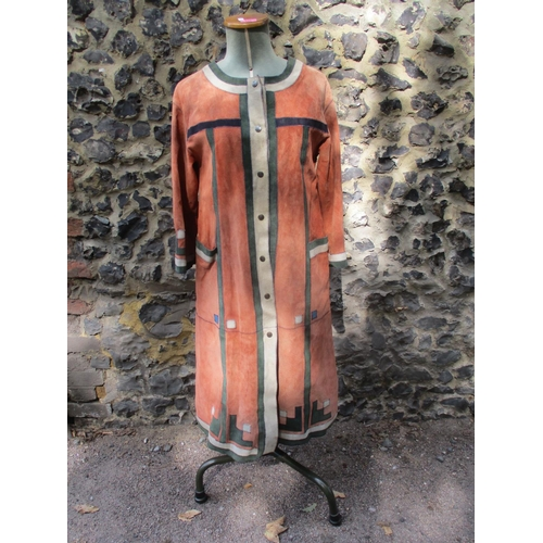 129 - 1970's leather patchwork design ladies dress made by Carnit Migdal Haemek Israel Size 16 with a Barb...