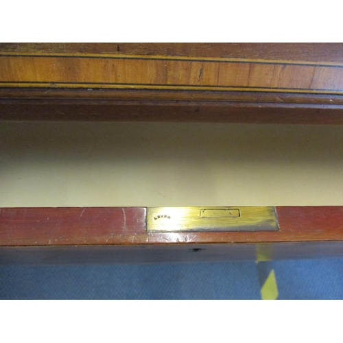 144 - An early 20th century inlaid mahogany bureau with small box within Location: RAM...