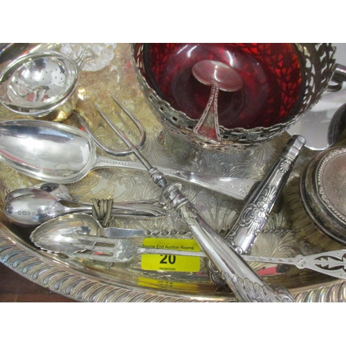 20 - Silver and silver plate to include cutlery and flatware, teaware, tableware, silver, a 19th century ...