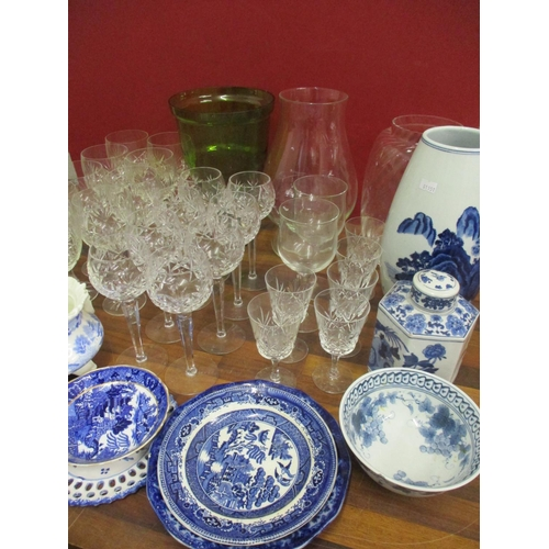 22 - Ceramics and glassware to include a modern Japanese blue and white vase, glass vases, teaware and ot...