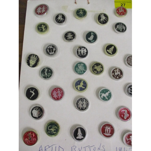 27 - A collection of 1947 Artid buttons to include Ice skater, Scorpion and Temple in various colours mou...