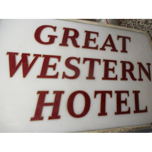 29 - A large Great Western Hotel sign manufactured by Pearce, 56 x 36' Location: C-R...