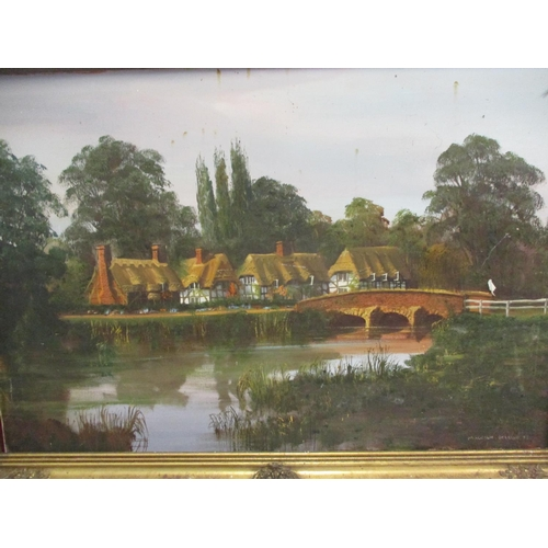 36 - Malcolm Gearing - Cottages over the Bridge, oil on canvas, 35 x 24