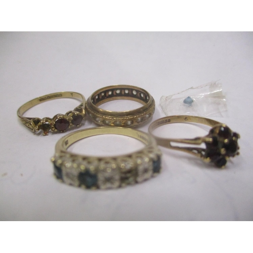 4 - Four 9ct gold rings to include a garnet cluster ring and others A/F Location: CAB...
