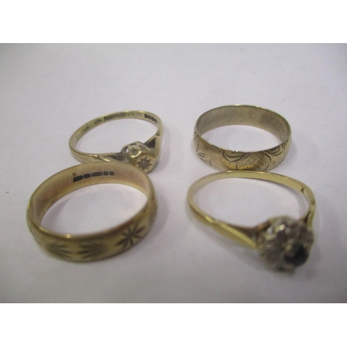 5 - Three 9ct gold rings to include two bands and one inset with a diamond, 5.5 grams, together with an ...