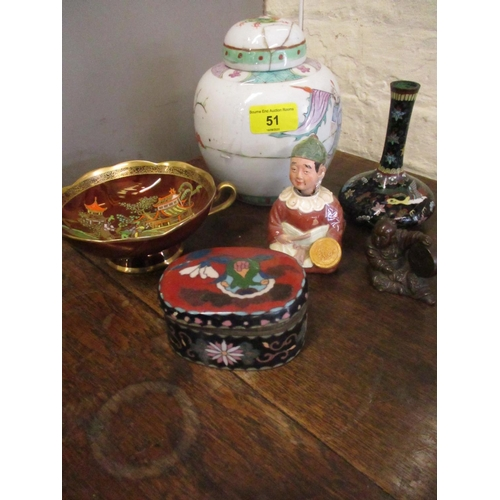 51 - A small quantity of oriental ceramics to include a bronze figure of a drummer, together with an Engl...