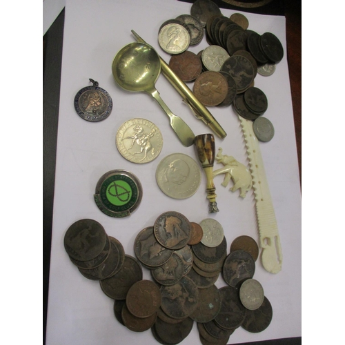 55 - A mixed lot to include crowns, ivory items, a Staffordshire Union Golf Club Past President badge, a ...