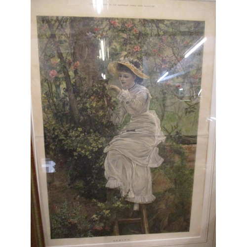 58 - G.D Leslie - Sweet Seventeen, a print, mounted in a gold painted frame together with a 1879 illustra...