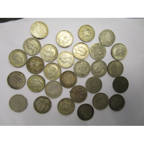 71 - A collection of Victorian and George V silver half crowns to include a 1914 coin, total weight 401.8...