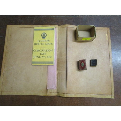 86 - A lot to include a leather desk blotter and a leather bound 1780 miniature bible printed for E Newbe...