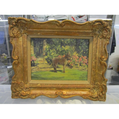 88 - Phyllis Morgans R.G.I - Donkey at Langley, Cotswolds - oil on board, signed lower right corner, 7 x ...